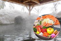 冬の越後からのおもてなし♪まるごと佐渡沖直送紅ズワイガニと海鮮舟盛りの昼食!新潟コシヒカリすくいどりと雪国きのこもぎとり体験&雪見温泉でほっこり!