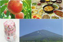 やまなし満腹満足-もも狩り編-! 人気の桔梗信玄餅詰め放題と旬のもも狩り♪雲上の富士山五合目へ行こう!