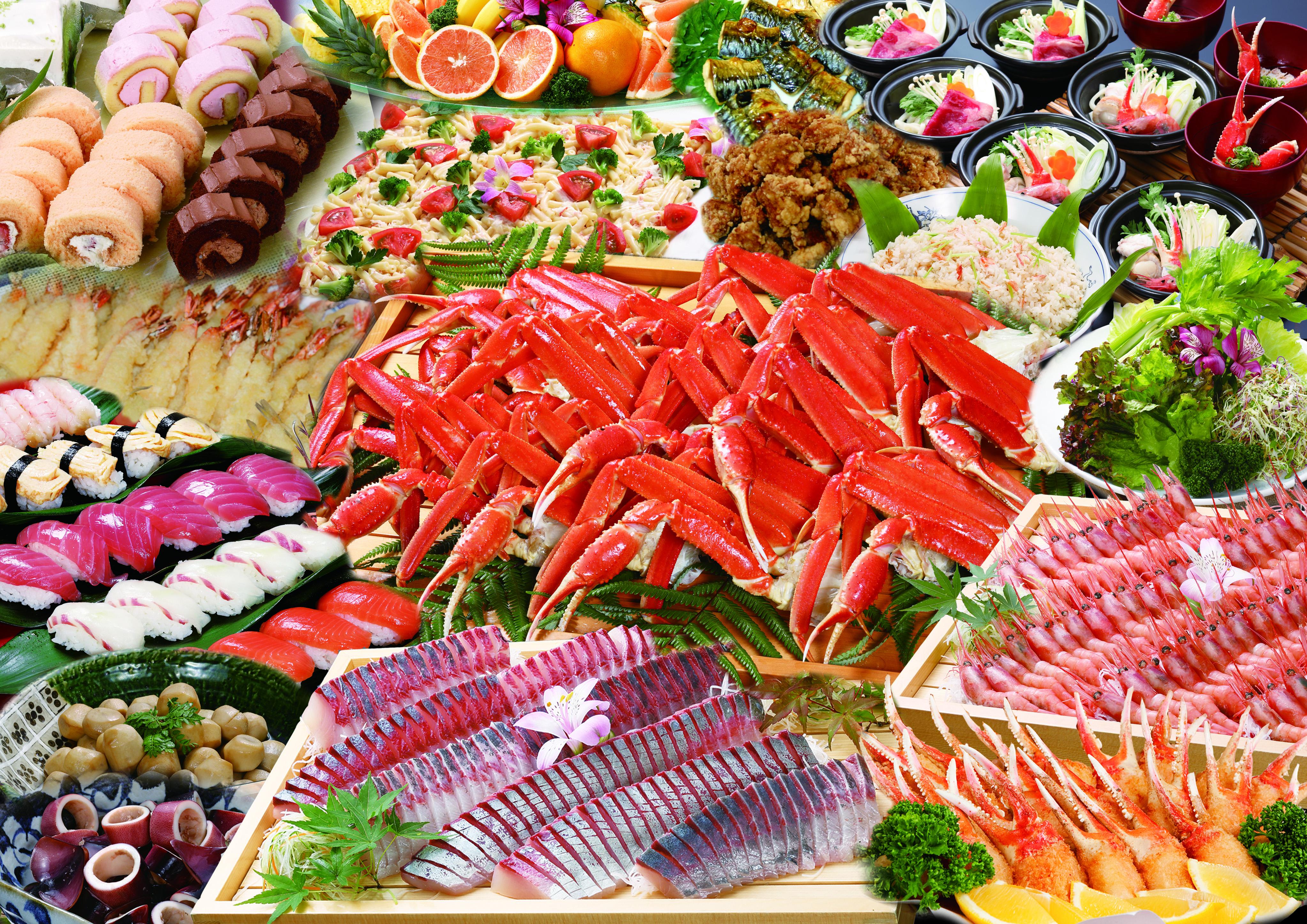 蟹食べ放題と温泉