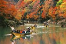 【お弁当付】秋の京都の紅葉を2倍楽しむ♪嵯峨野トロッコ列車と保津川下りへ行く日帰りバスツアー
