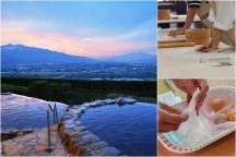 温泉へ行こう♪ 絶景温泉『みたまの湯』と【ほうとう作り・新鮮野菜の収穫・フルーツ大福作り】トリプル体験に八ヶ岳リゾートアウトレットでショッピング♪
