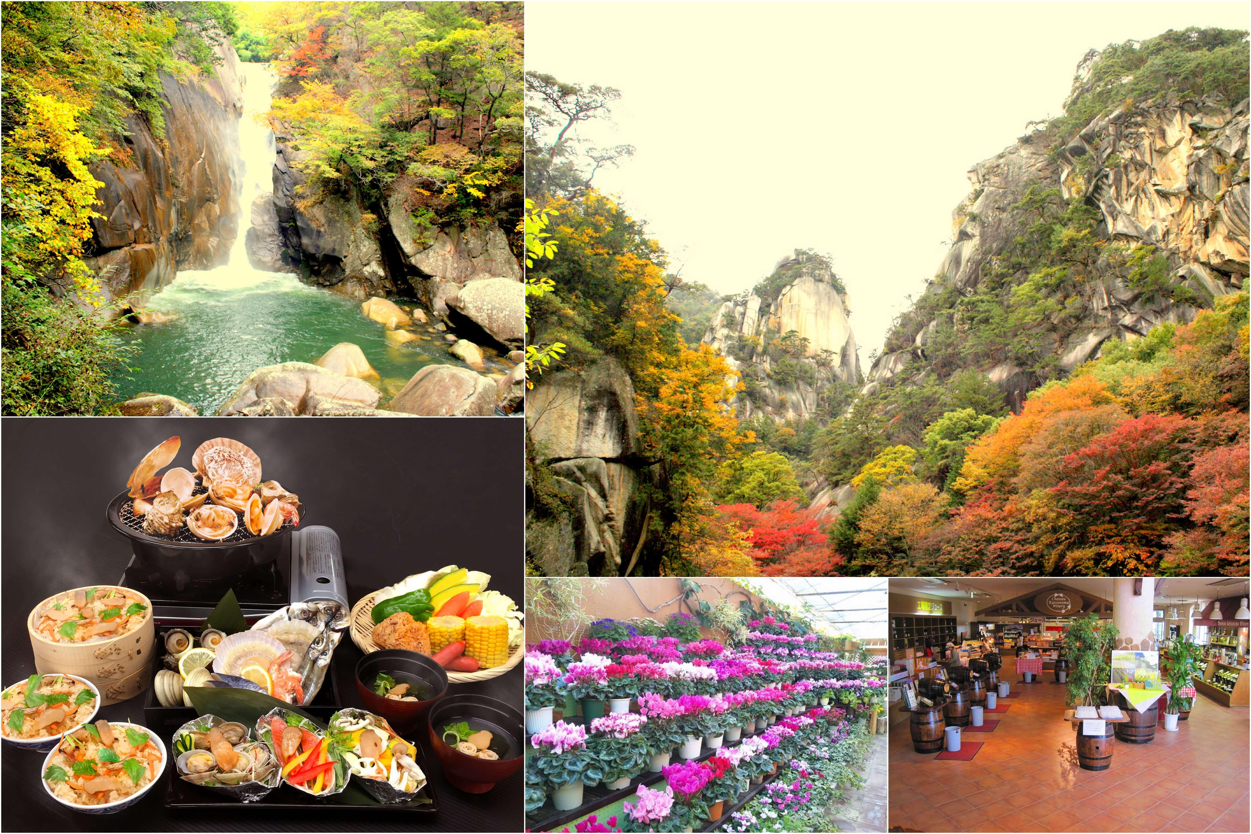 秋色に染まる渓谷「昇仙峡」散策と秋の味覚松茸料理&海鮮浜焼き食べ放題満腹ランチ♪