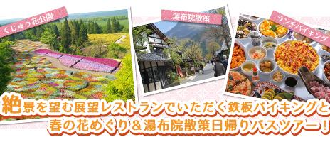 九重連山や瀬の本高原の景色を望む展望レストランでいただく鉄板バイキングと春の花めぐり&湯布院散策